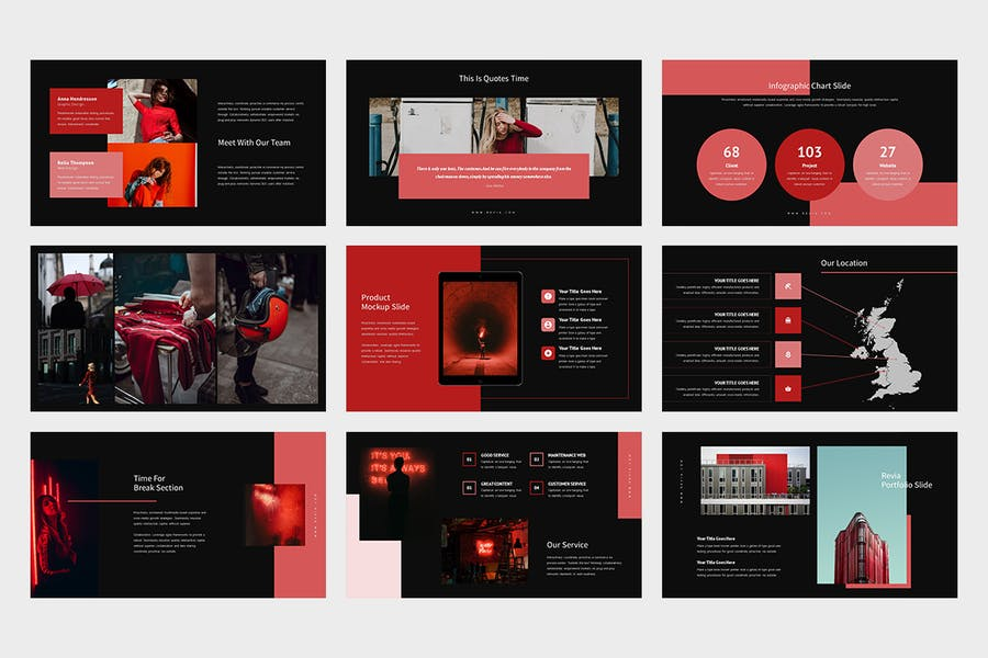 Revia : Red Gradient Color Tone Keynote - product preview 9