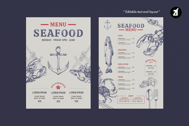 Seafood style menu template - product preview 4