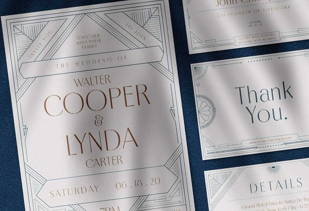 Art Deco Wedding Invitation Pack - product preview 1