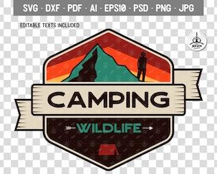 Camping Wild Badge / Vintage Travel Logo Patch SVG