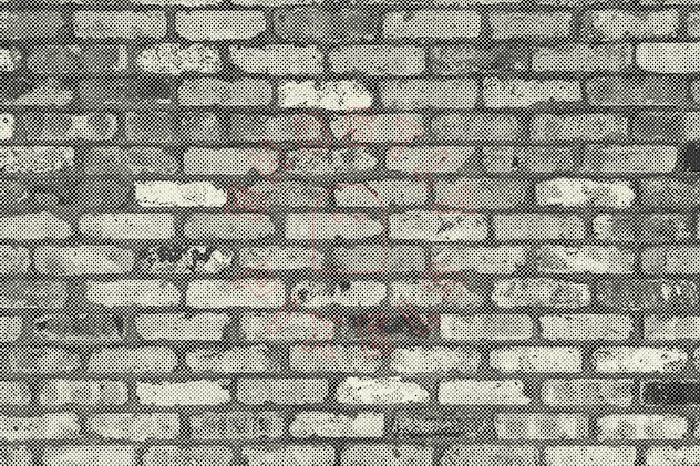 Halftone Brick & Stone Wall Textures - product preview 9