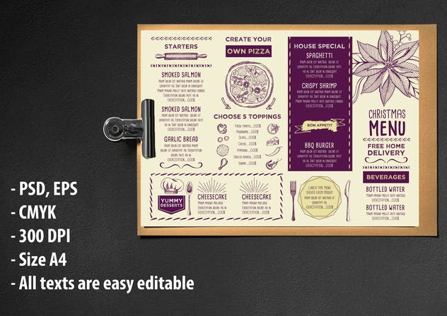 Christmas Menu Restaurant Template - product preview 0