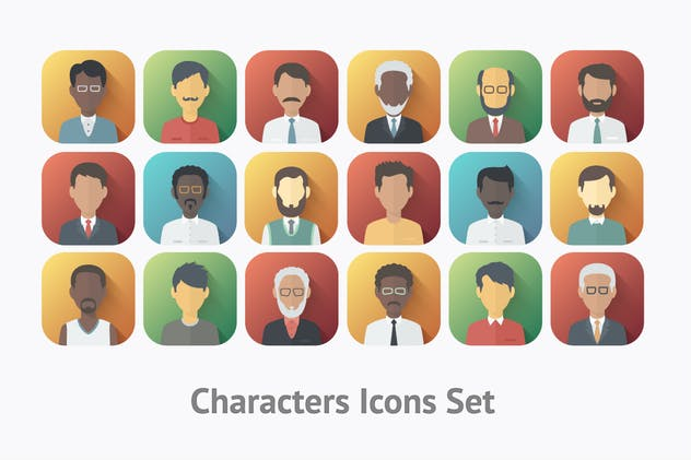 Flat Characters Icons Set - product preview 2