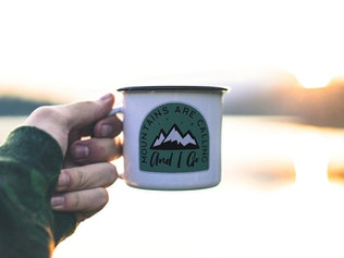 Thumbnail for Mountain Calling Logo, Retro Camping Badge T-Shirt