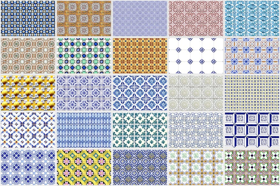 200 Seamless Portugal Azulejo Tile Backgrounds - product preview 5