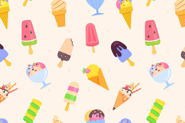 Ice cream - colorful flat design style pattern - product preview 0