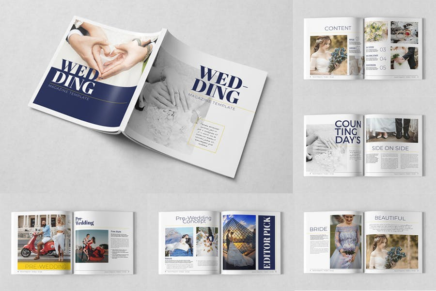 Square Wedding Magazine Template - product preview 1
