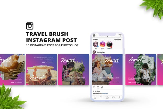 Travel Brush Instagram Post - product preview 1