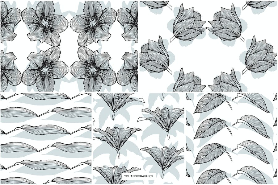 Lineart Floral Patterns & Elements - product preview 13