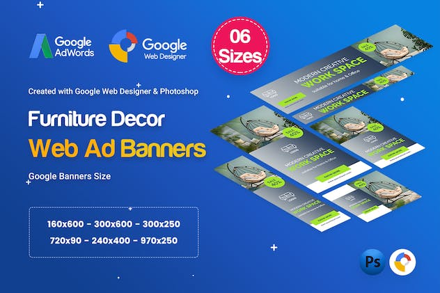 Furniture Decor Banners HTML5 D45 Ad - GWD & PSD