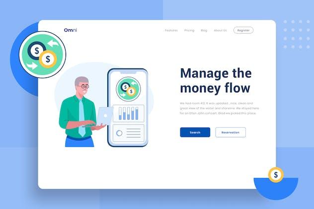 Manage the money flow header Illustration