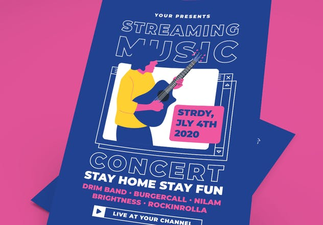 Streaming Music Concert Flyers Set