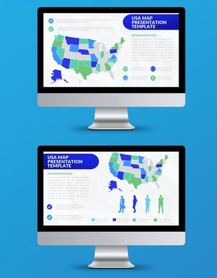 Thumbnail for Blue Map Powerpoint Presentation Template