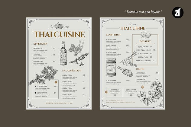 Thai style vintage menu template - product preview 4