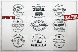 Vintage Surfing Logo / Summer Fun Label Set