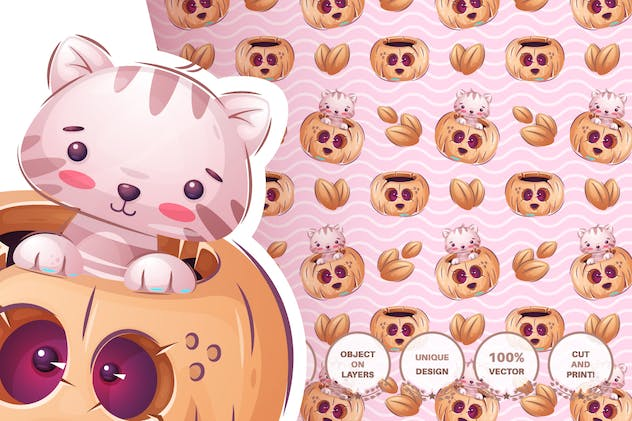 Set cute sticker - seamless pattern - product preview 10