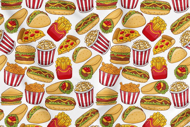 Fast Food Seamless Pattern - product preview 0