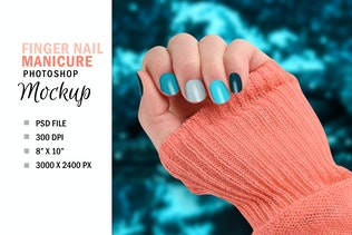 Thumbnail for Finger Nail Mockup, Beauty Manicure Nails PSD File