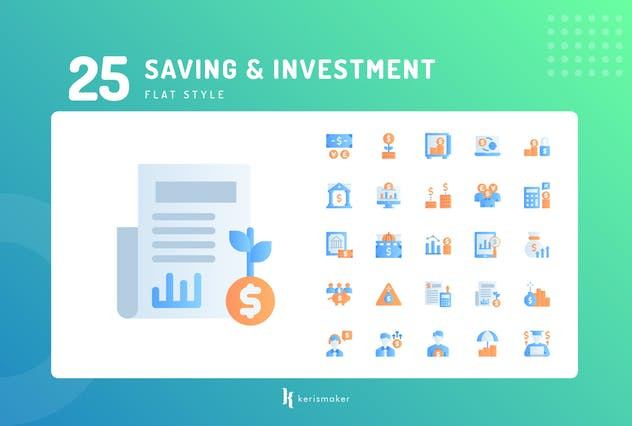 Saving & Investment Flat Icons