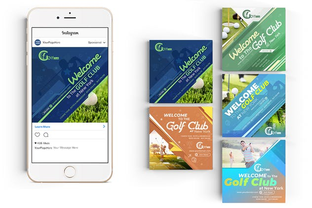 10 Instagram Post Banner-Golf - product preview 1