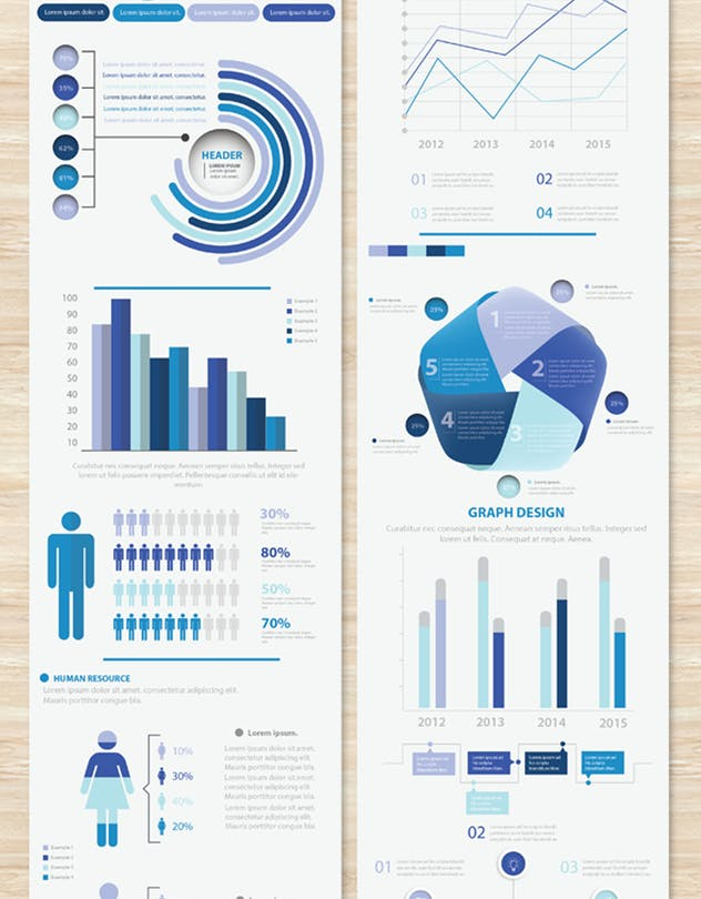 Big Blue Infographic Elements Design Scheme V.5 - product preview 8