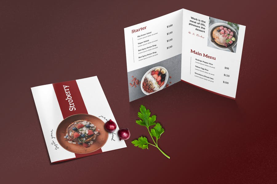 Bifold Restaurant Menu Template - product preview 1