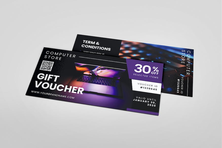 Computer Store AI and PSD Gift Voucher Template - product preview 6
