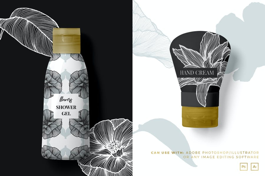 Lineart Floral Patterns & Elements - product preview 1
