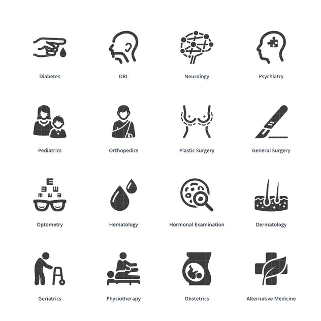Blue Medical Specialties Icons Set 2 - Sympa