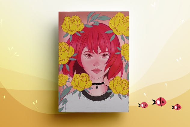 Illustration - Girl Portrait - product preview 2