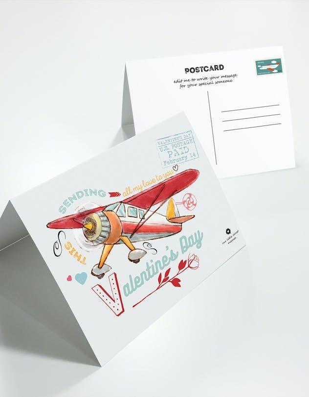 Flying Valentine's Day Postcard