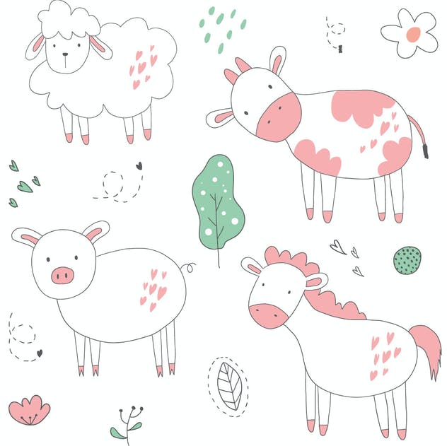 cute animal vector pattern - product preview 1