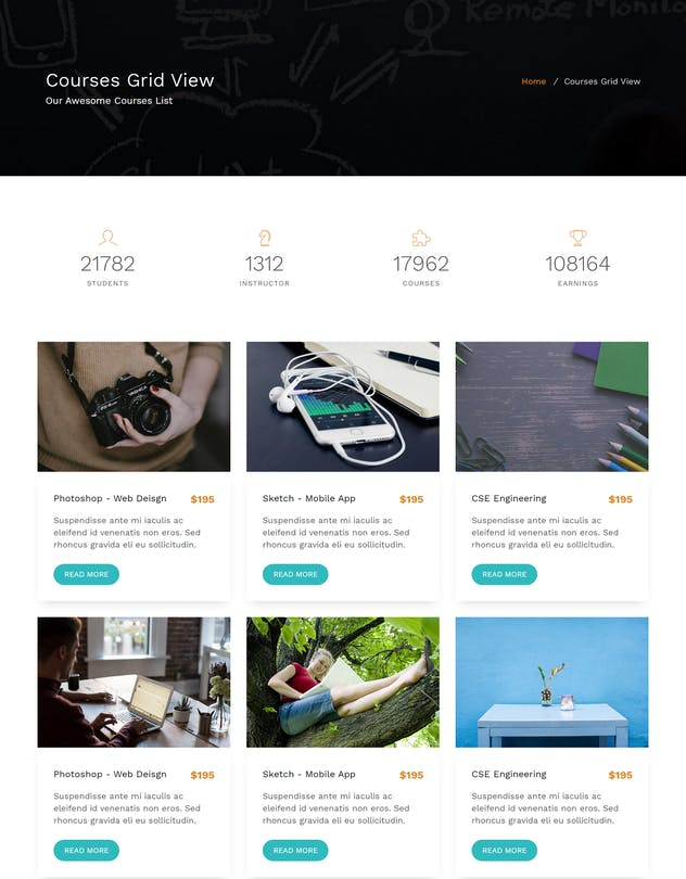 E-School - Learning and Courses HTML5 Template - product preview 2