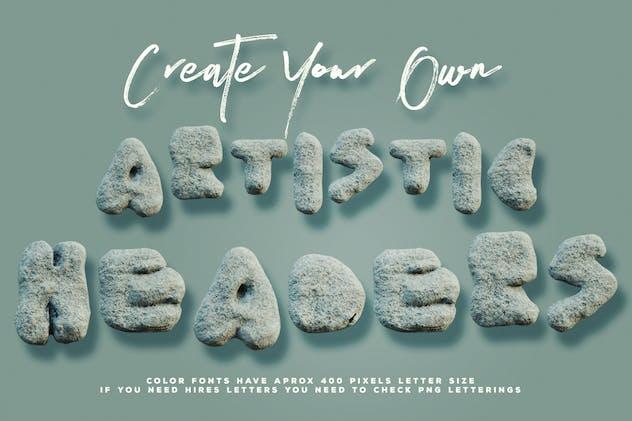 Rough Stone - 3D Color SVG Font - product preview 2
