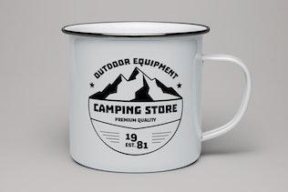Retro Camp Logo, Vintage Premade Travel Badge