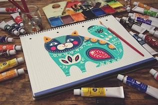 Thumbnail for Grid Notebook Paint Scene