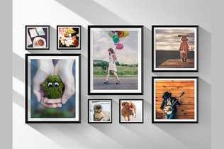 Thumbnail for Realistic Photo Frames on Wall Mock-Up