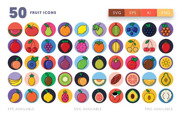 50 Fruit Icons - product preview 1