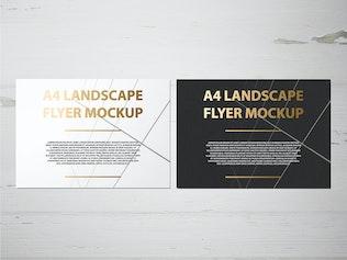 Thumbnail for A4 Landscape Flyer / Poster Mockup - Foil Stamping