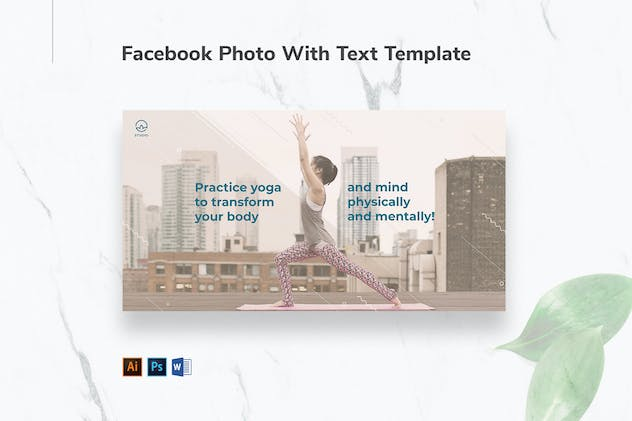 Yoga Instructor Facebook Photo With Text - product preview 1