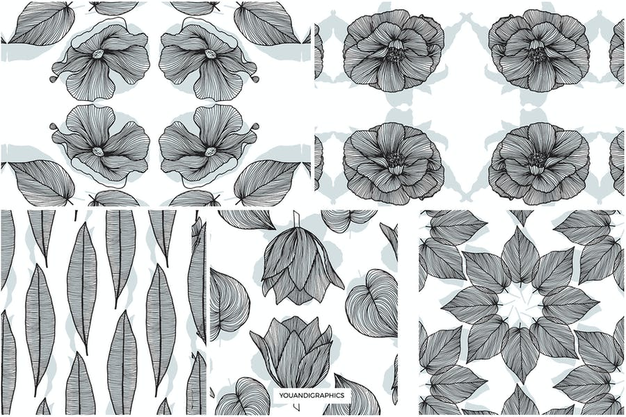 Lineart Floral Patterns & Elements - product preview 14