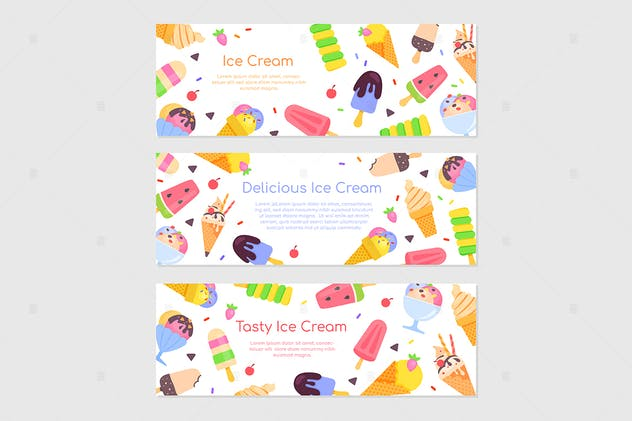 Delicious ice cream - flat design style banners