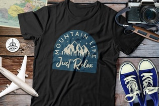 Thumbnail for Mountain Life Logos, Retro Camping Badges T-Shirt