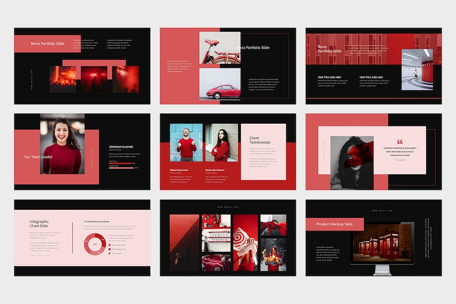 Revia : Red Gradient Color Tone Keynote - product preview 10