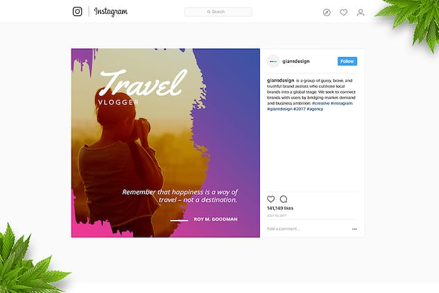 Travel Brush Instagram Post - product preview 3