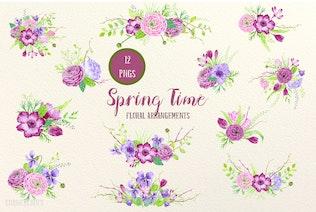 Thumbnail for Watercolor Design Kit Spring Time