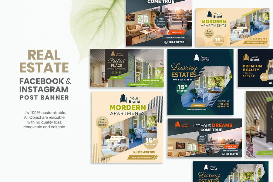 10 Social Media Banners - Real Estate - product preview 1