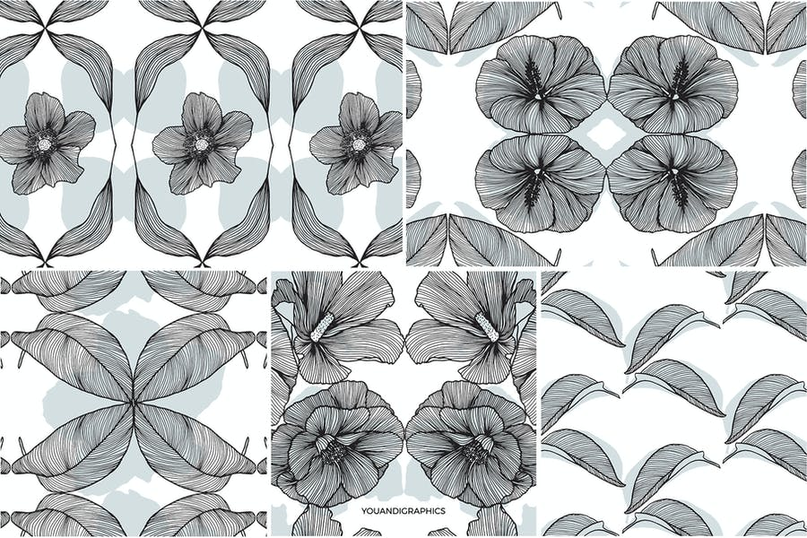 Lineart Floral Patterns & Elements - product preview 15