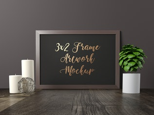 Frame Artwork Mockup - Dark Interior Set