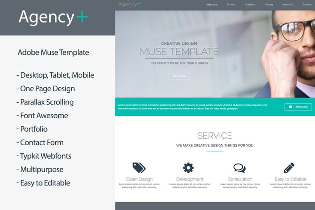 AgencyPlus - One Page Multi-Purpose Muse Template - product preview 0